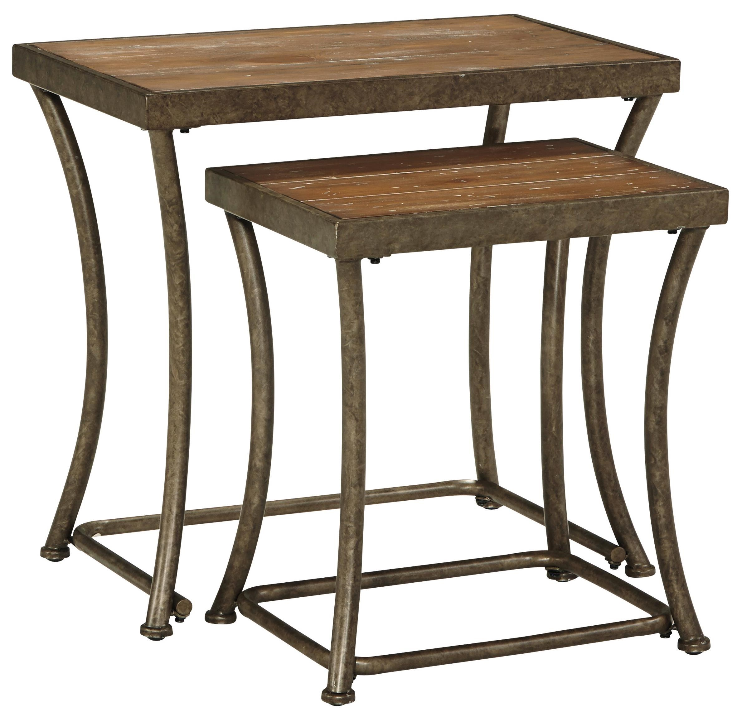 Signature Design By Ashley Nartina Rustic Metal Nesting End Tables With  Distressed Pine Tables Tops