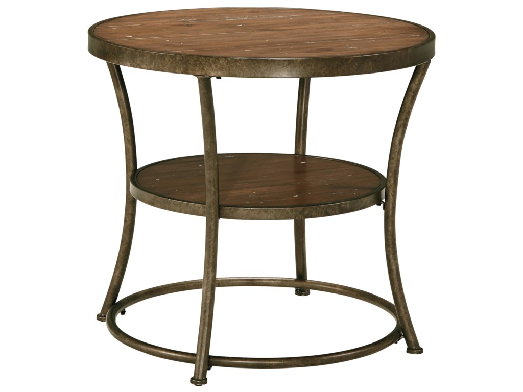Signature Design by Ashley Nartina Rustic Metal Frame Round End Table with  Distressed Pine Top   Shelf   Household Furniture   End Table. Signature Design by Ashley Nartina Rustic Metal Frame Round End