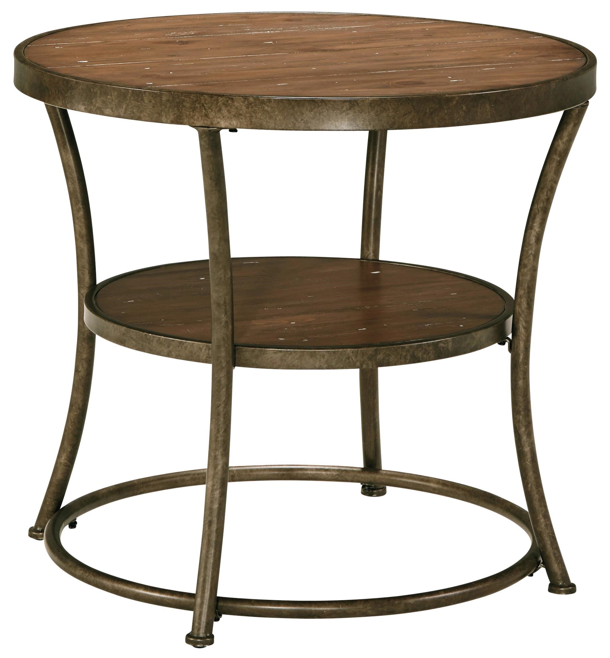 Signature Design By Ashley Narina Rustic Metal Frame Round End Table With  Distressed Pine Top U0026 Shelf   John V Schultz Furniture   End Table