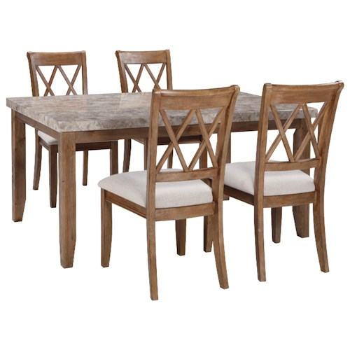 Signature Design by Ashley Narvilla 5-Piece Rectangular Dining Table Set with Faux Marble Top