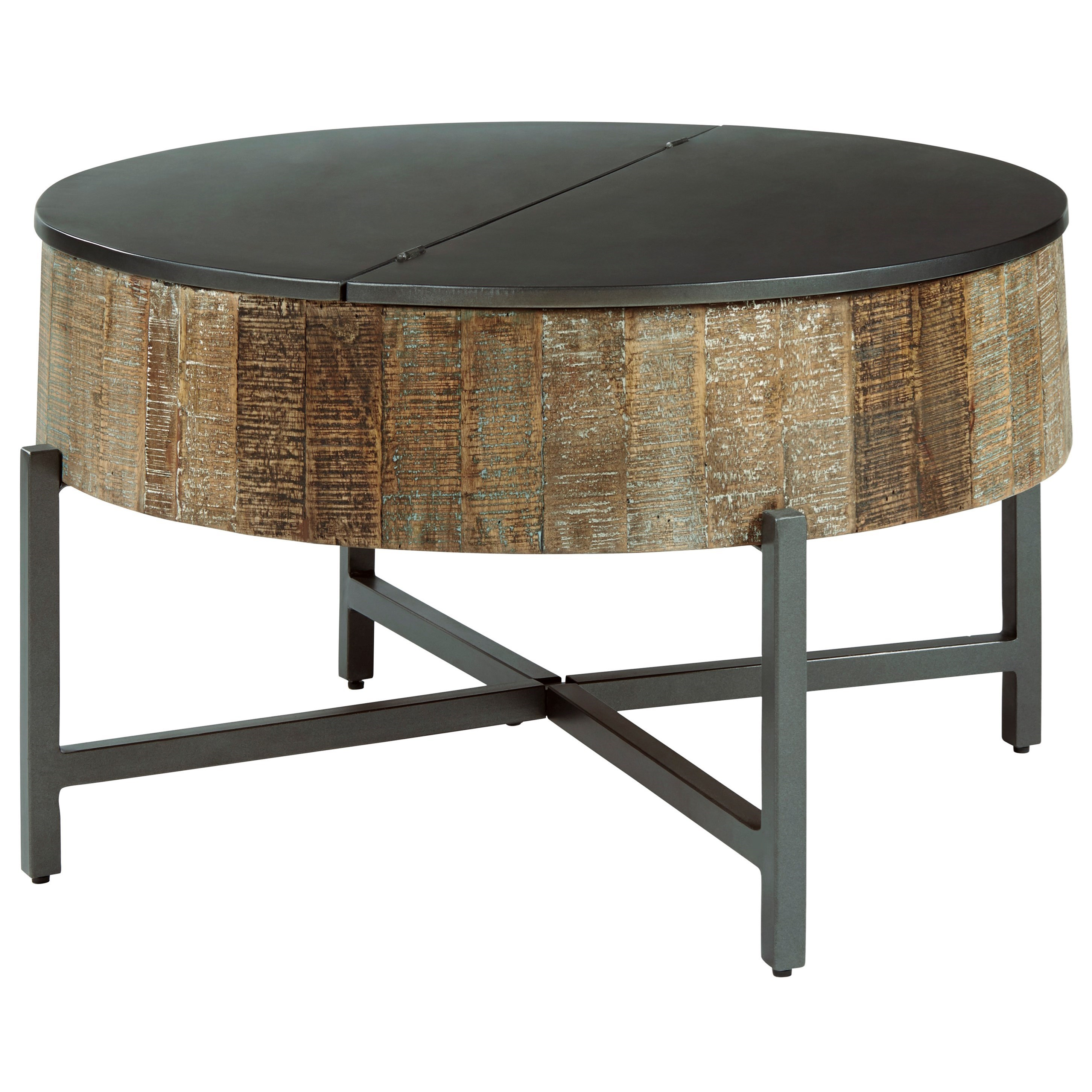 Picture of: Signature Design By Ashley Nashbryn Rustic Round Cocktail Table With Metal Base And Lid Top Godby Home Furnishings Cocktail Coffee Tables