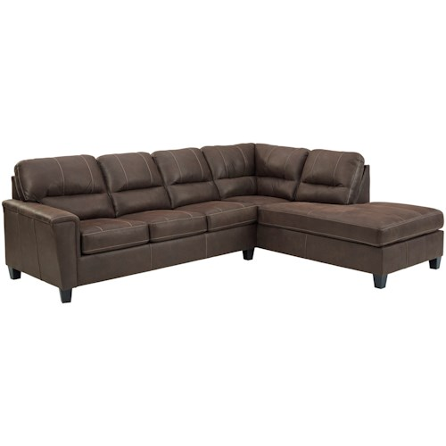 Signature Design by Ashley Navi Faux Leather 2-Piece Sectional w/ Right Chaise & Sleeper