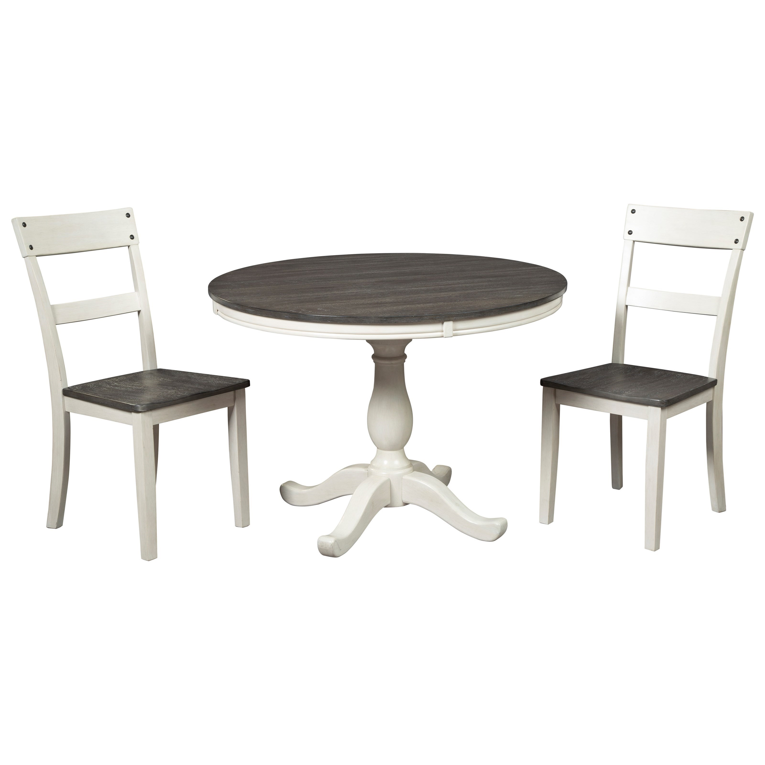 Picture of: Signature Design By Ashley Nelling Farmhouse Two Tone 3 Piece Round Dining Table Set Royal Furniture Dining 3 Piece Sets