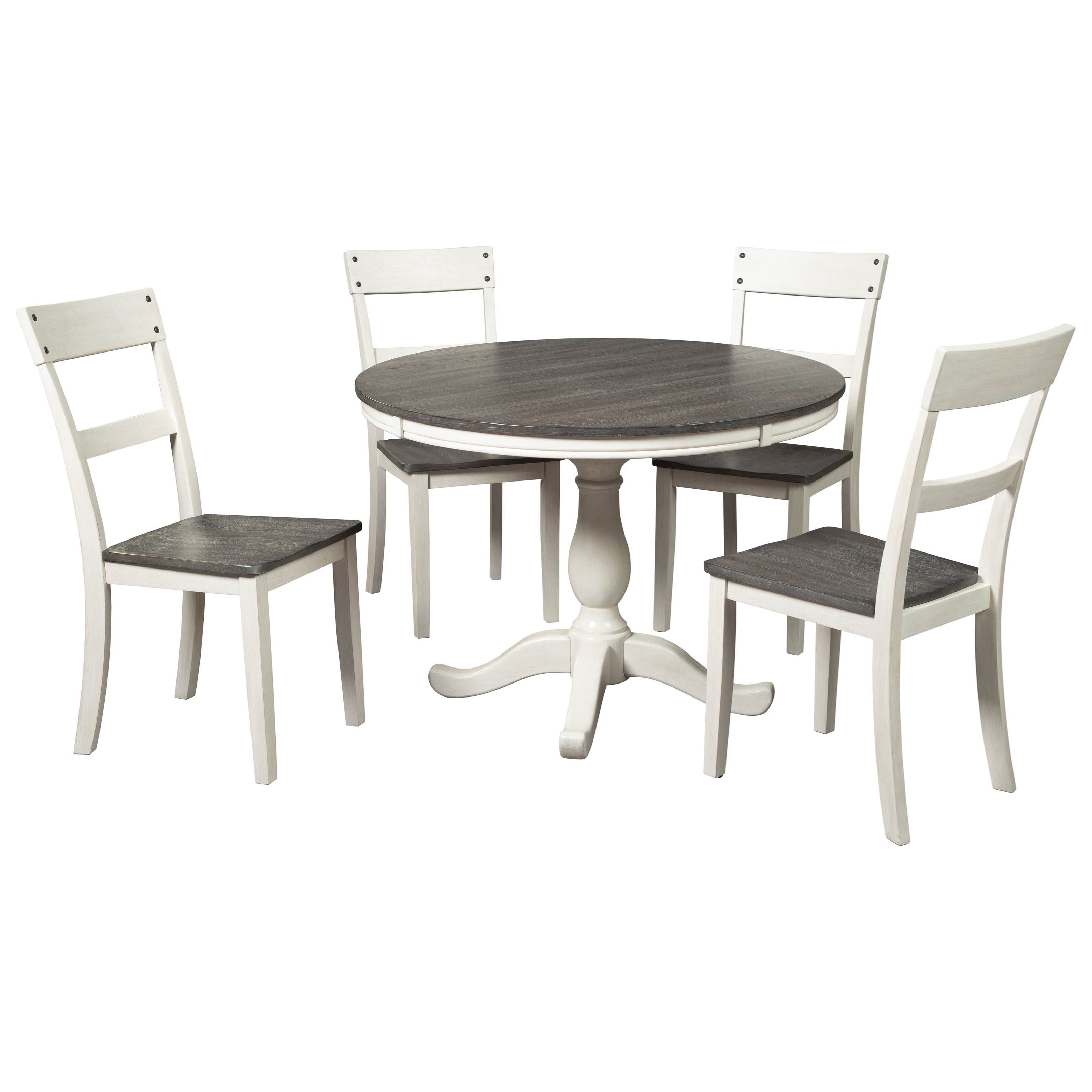 Picture of: Signature Design By Ashley Nelling Farmhouse Two Tone 5 Piece Round Dining Table Set Godby Home Furnishings Dining 5 Piece Sets