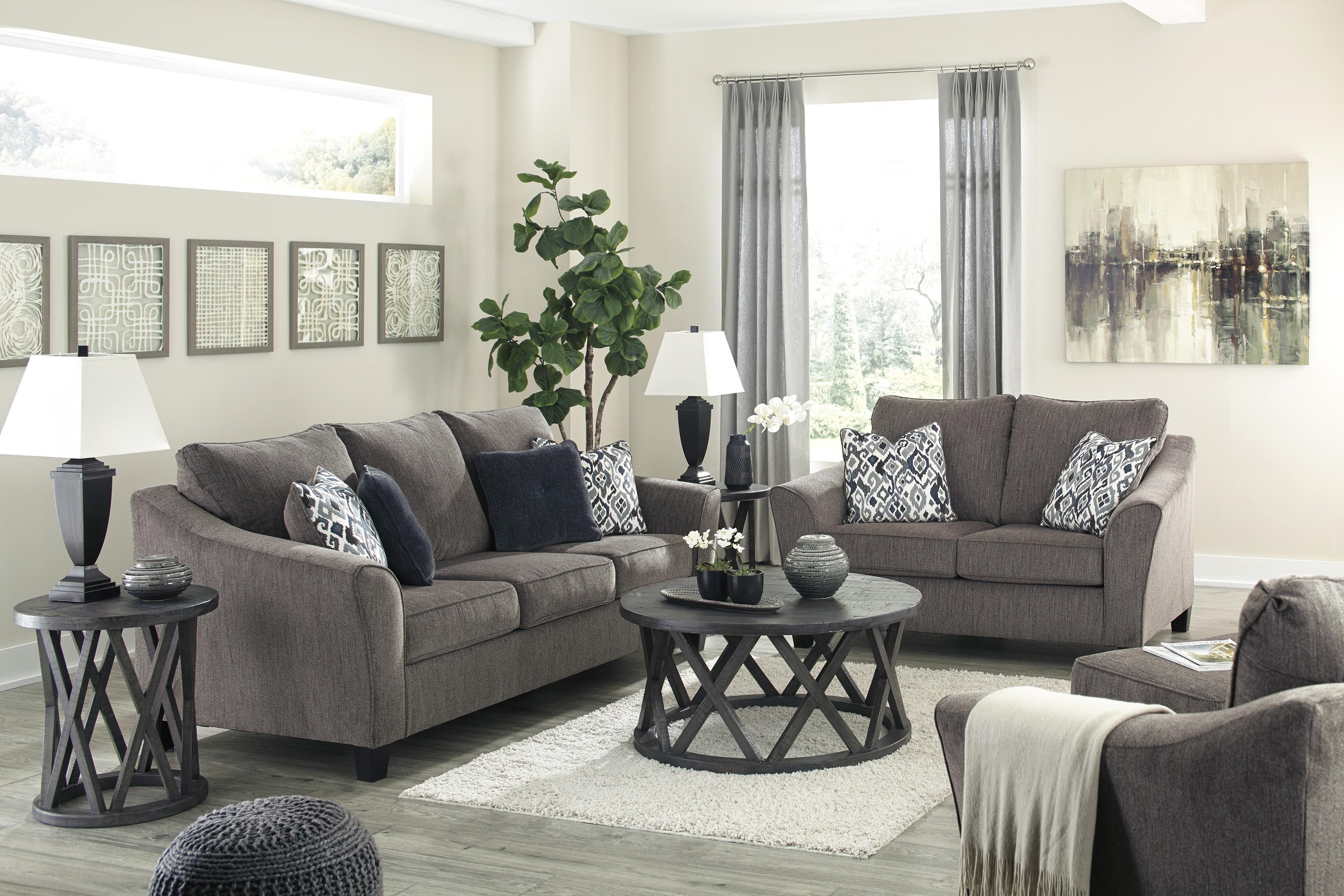 Picture of: Signature Design By Ashley Nemoli 4580638 35 23 Slate Sofa Loveseat And Chair Set Sam Levitz Furniture Stationary Living Room Groups