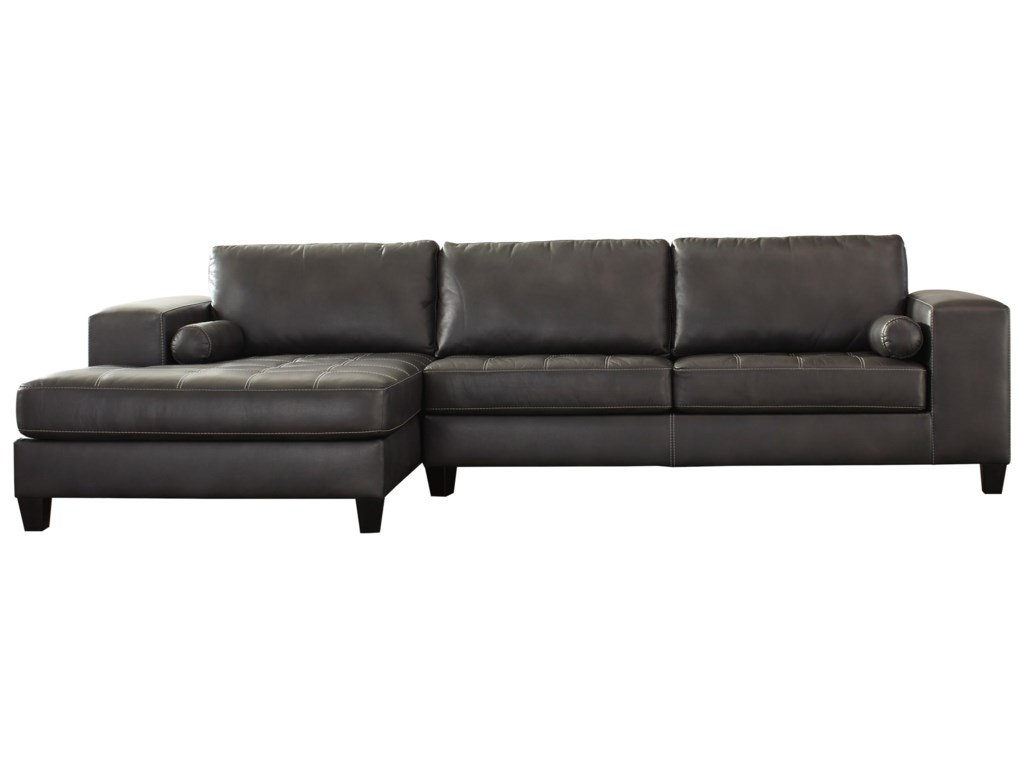Queen sofa bed sectional - Signature Design By Ashley Nokomis Contemporary Faux Leather Sectional With Left Chaise Queen Sleeper John V Schultz Furniture Sectional Sofas