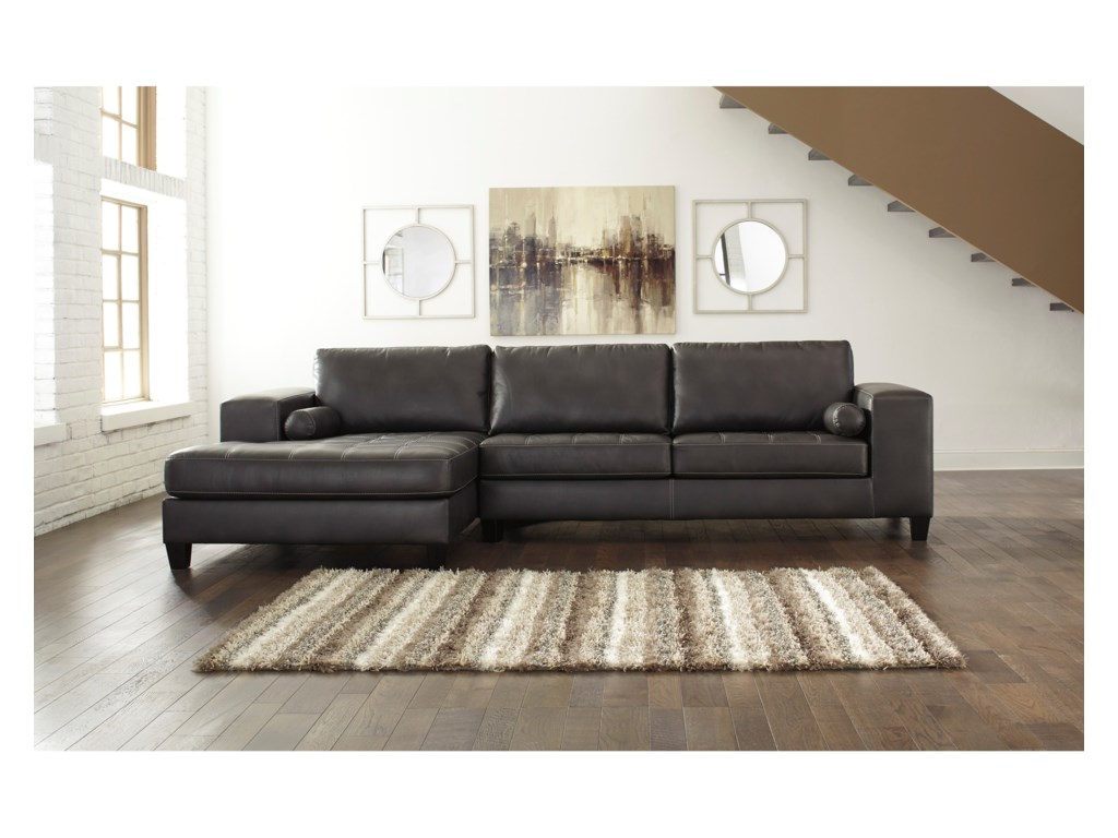signature design by ashley nokomis contemporary faux leather  - nokomis contemporary faux leather sectional with left chaise  queensleeper by signature design by ashley