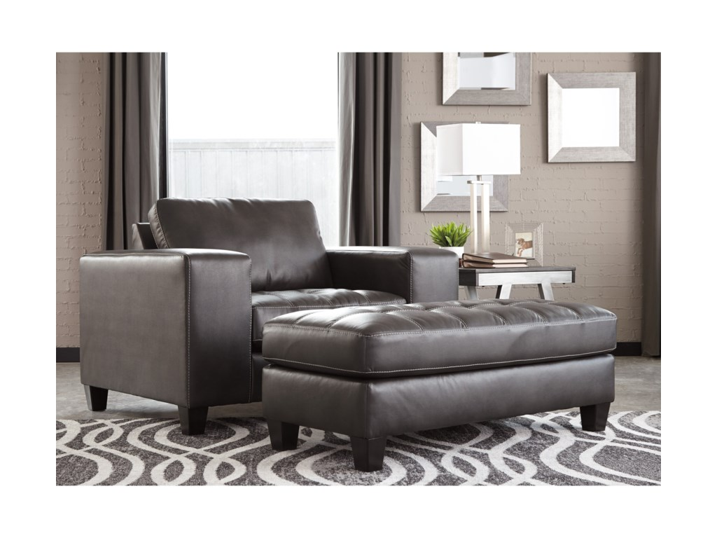Signature design by ashley nokomischair and a half with ottoman