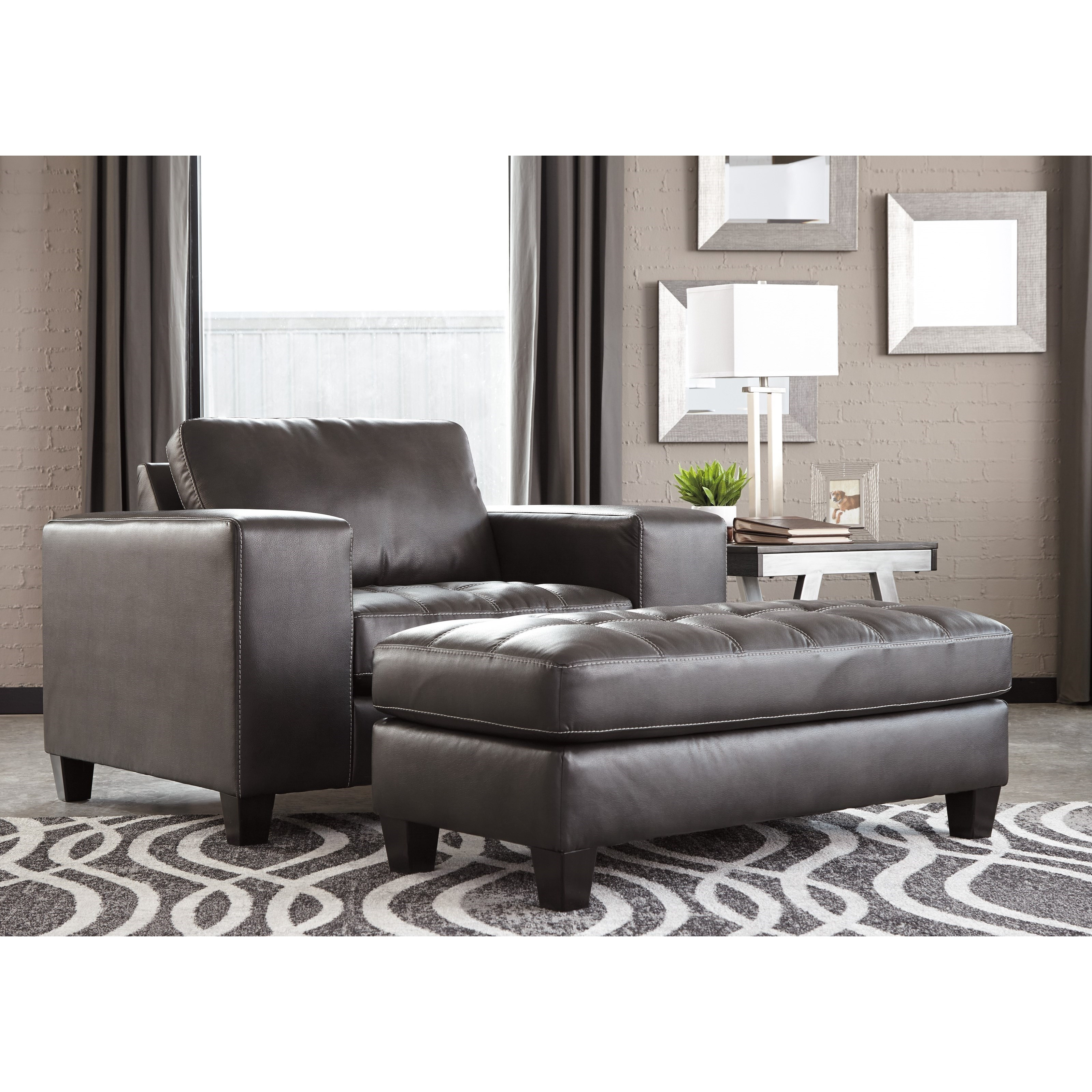 Nokomis Contemporary Chair And A Half With Ottoman By Signature Design By  Ashley