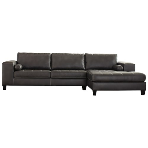 Signature Design by Ashley Nokomis Contemporary Faux Leather Sectional with Right Chaise