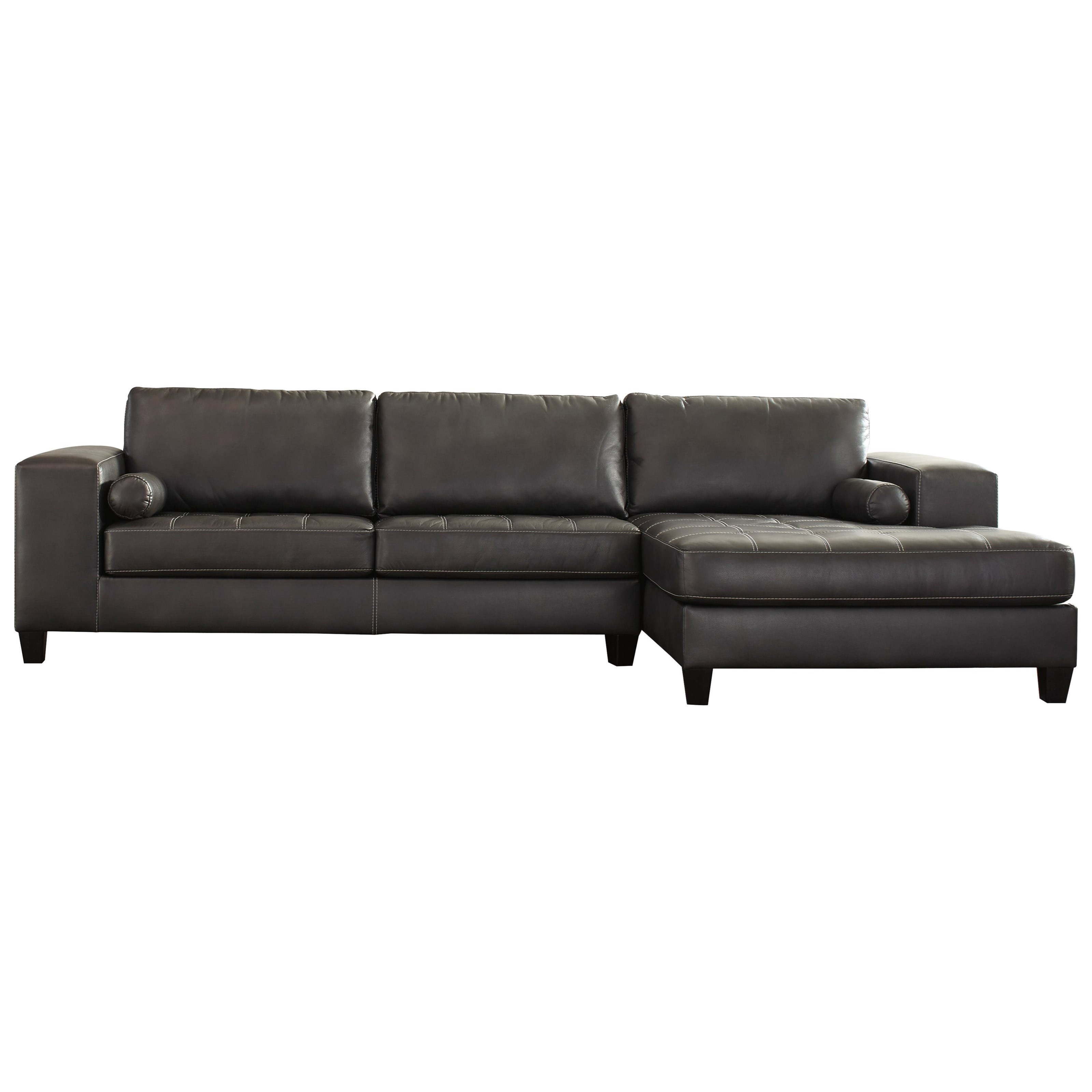 Ashley Signature Design Nokomis Contemporary Faux Leather Sectional with Right Chaise - Dunk u0026 Bright Furniture - Sectional Sofas  sc 1 st  Dunk u0026 Bright Furniture : faux leather sectional - Sectionals, Sofas & Couches