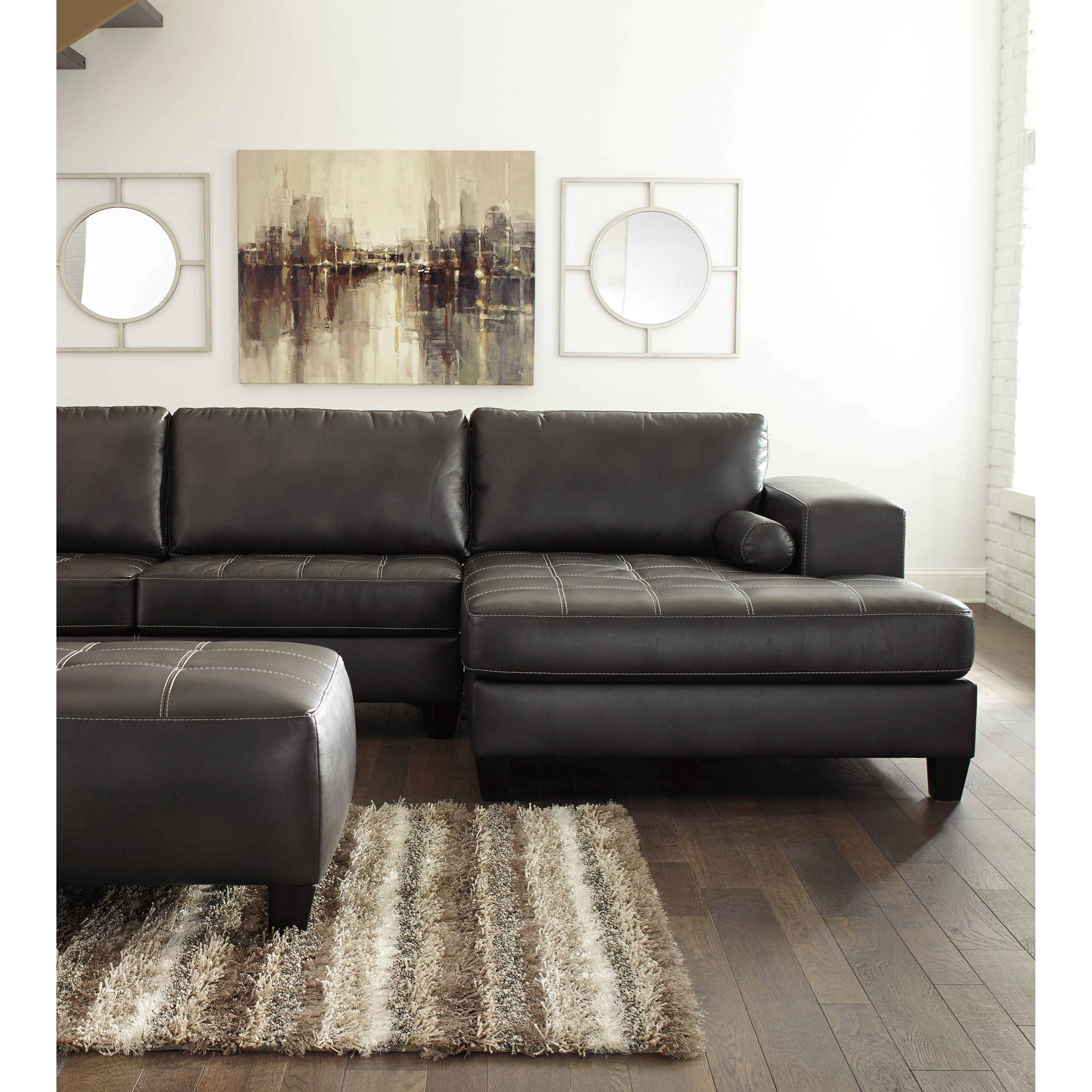 Nokomis Contemporary Faux Leather Sectional with Right Chaise u0026 Queen Sleeper by Signature Design by Ashley  sc 1 st  John V Schultz Furniture : ashley chocolate sectional - Sectionals, Sofas & Couches