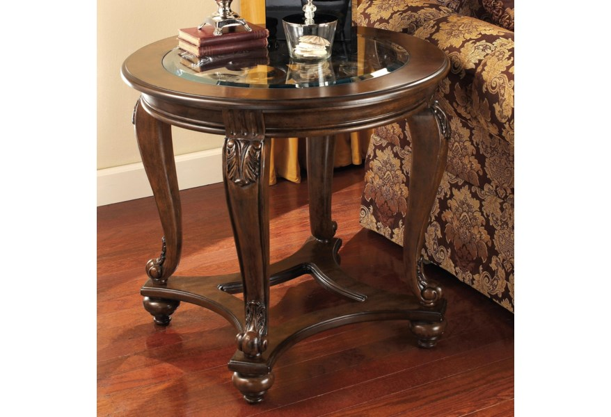 Signature Design By Ashley Norcastle T499 6 Round End Table With Glass Top Household Furniture End Tables