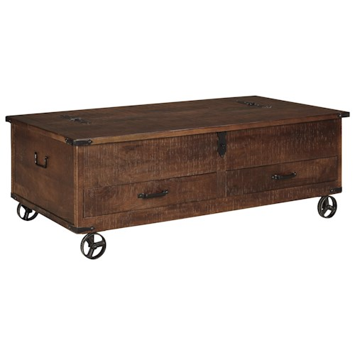 Signature Design By Ashley Norlandon Rustic Storage Cocktail Table With Hinged Top And