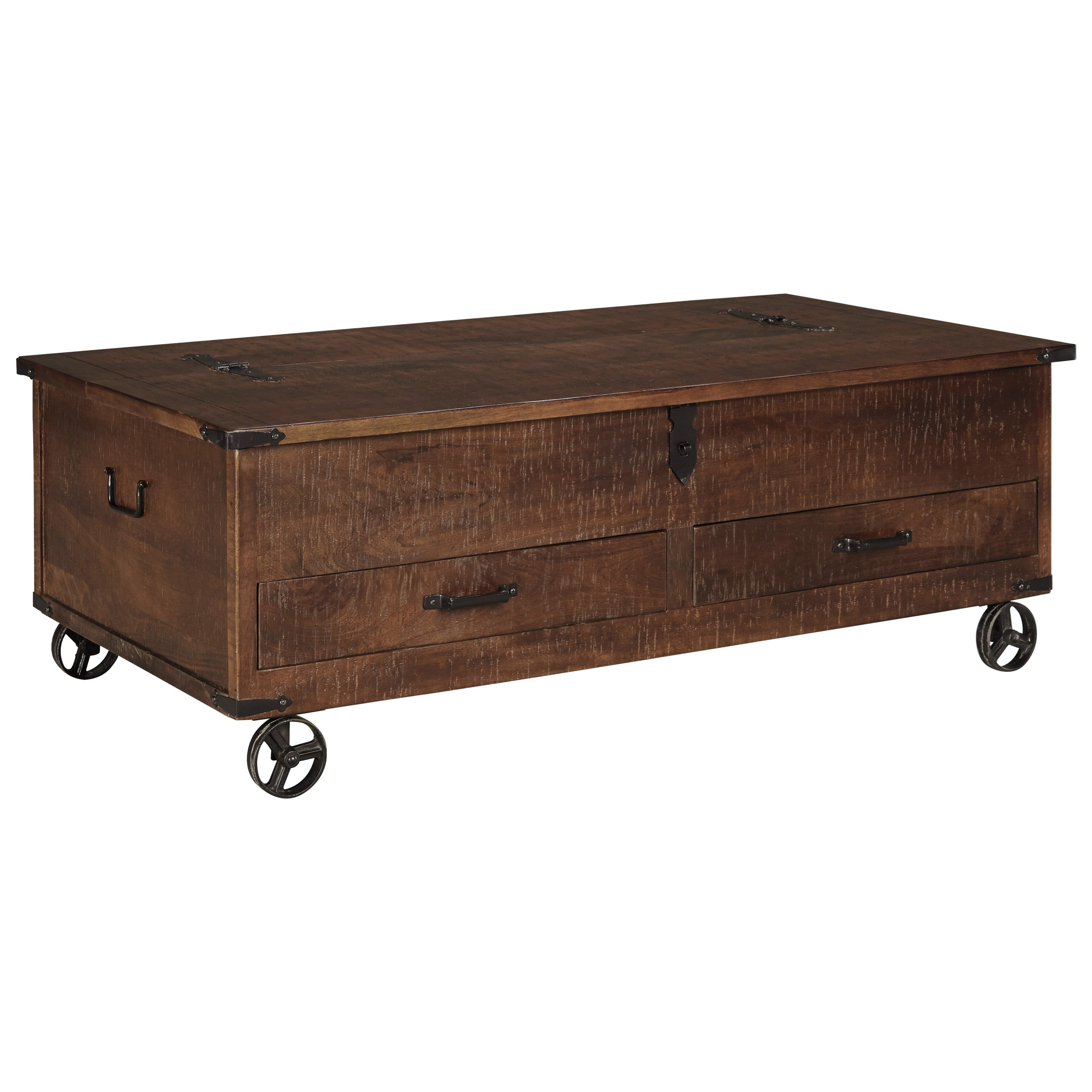 Signature Design By Ashley Norlandon Rustic Storage Cocktail Table With  Hinged Top And Industrial Wheels
