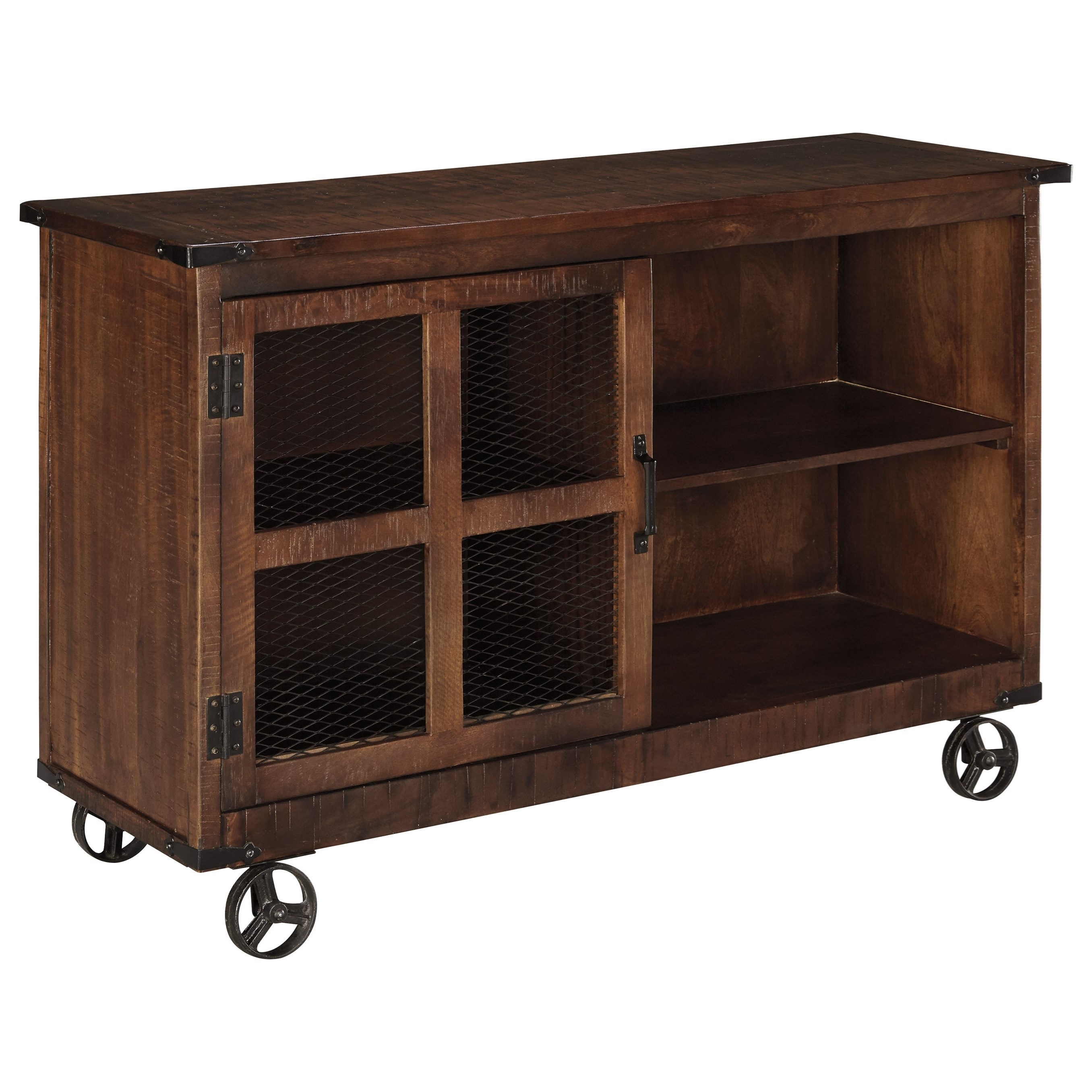 Signature Design By Ashley Norlandon Rustic Industrial Console With Door U0026  Wheels
