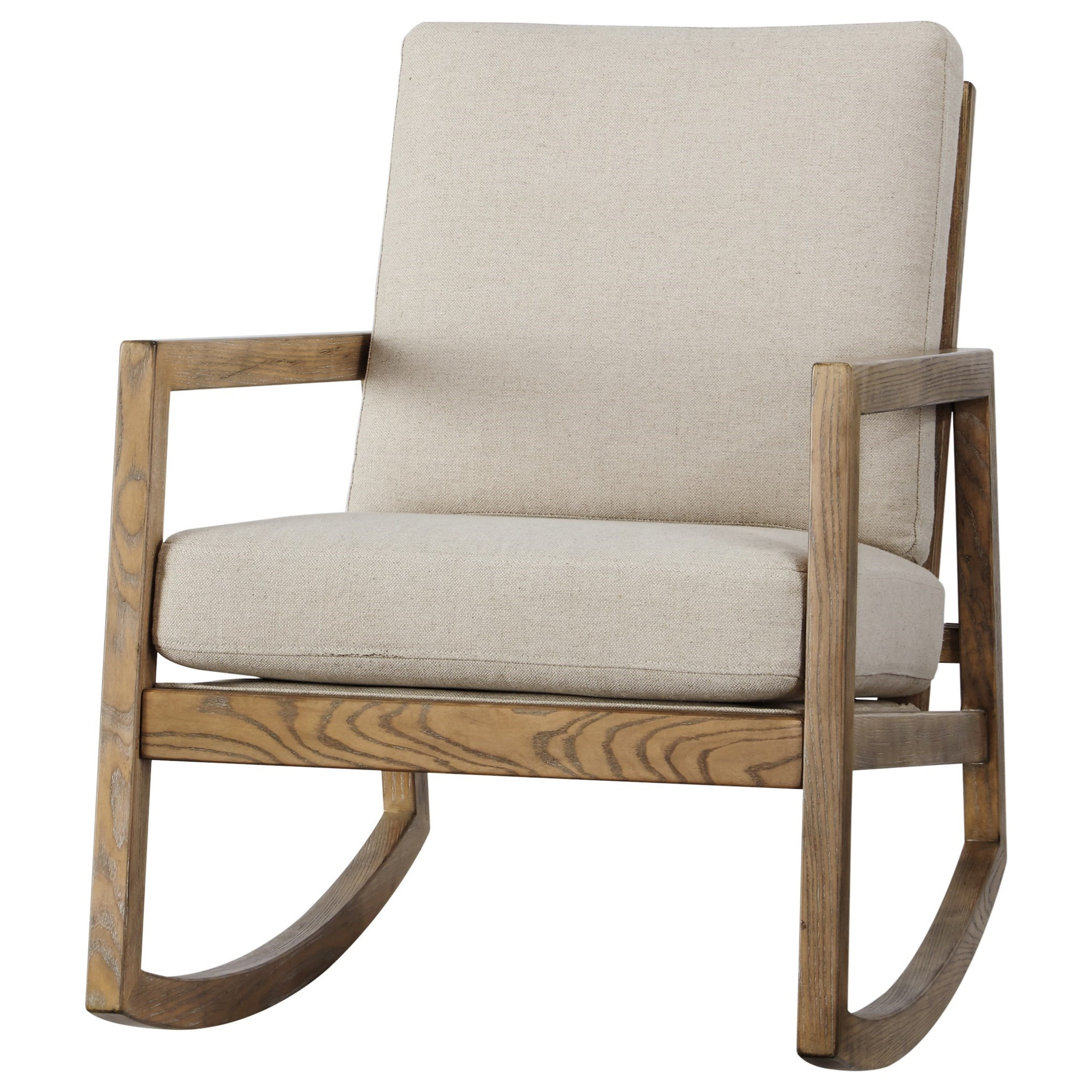 Upholstered Rocking Accent Chair with Exposed Wood Frame