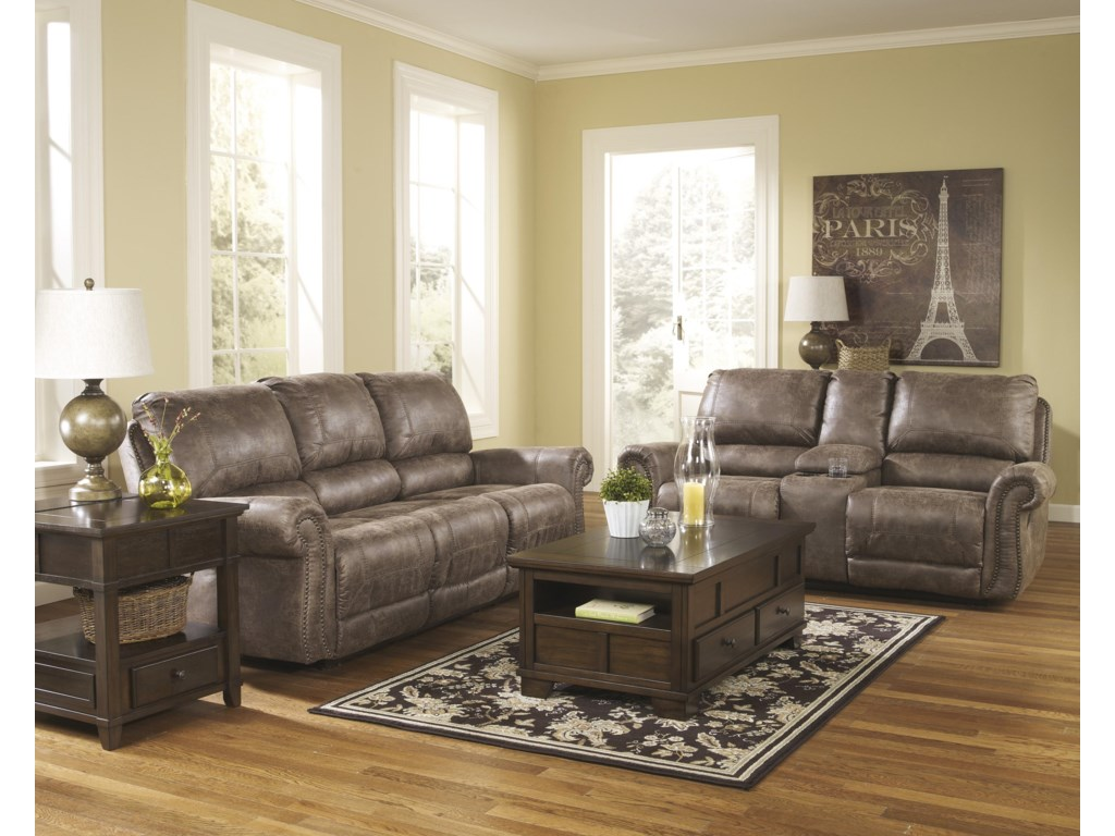 Ashley (Signature Design) Oberson - GunsmokeReclining Living Room Group