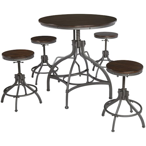 Signature Design by Ashley Odium Adjustable 5-Piece Dining Room Counter Table Set