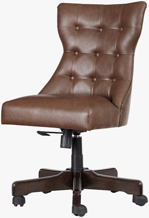 Signature Design by Ashley Office Chair Program Home Office Swivel Desk Chair in Faux Brown Leather