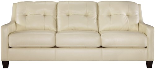 Signature Design by Ashley O'Kean Contemporary Leather Match Sofa with Tufted Back & Track Arms