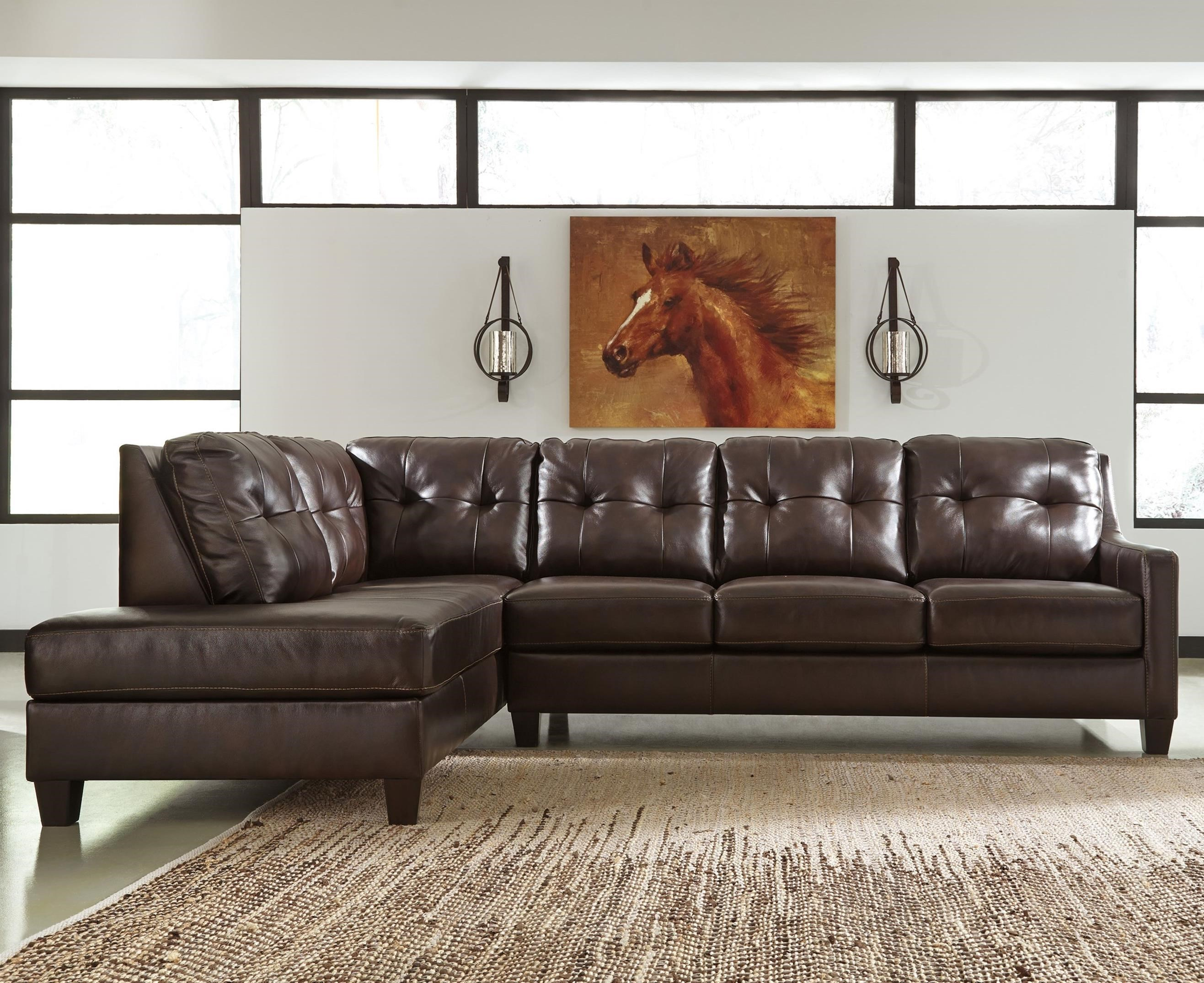 Signature Design By Ashley Ou0027Kean Leather Match 2 Piece Sectional With Left  Chaise U0026 Sleeper   Becker Furniture World   Sectional Sofas