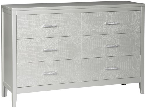 Signature Design by Ashley Olivet Glam Dresser with Faux Crystal Drawer Pulls