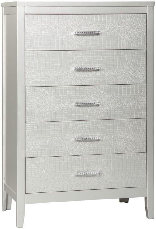 Signature Design by Ashley Olivet Glam Five Drawer Chest with Faux Crystal Drawer Pulls