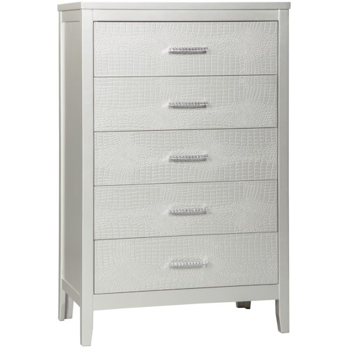 Signature Design by Ashley Olivet Glam 5-Drawer Chest with Faux Crystal Drawer Pulls