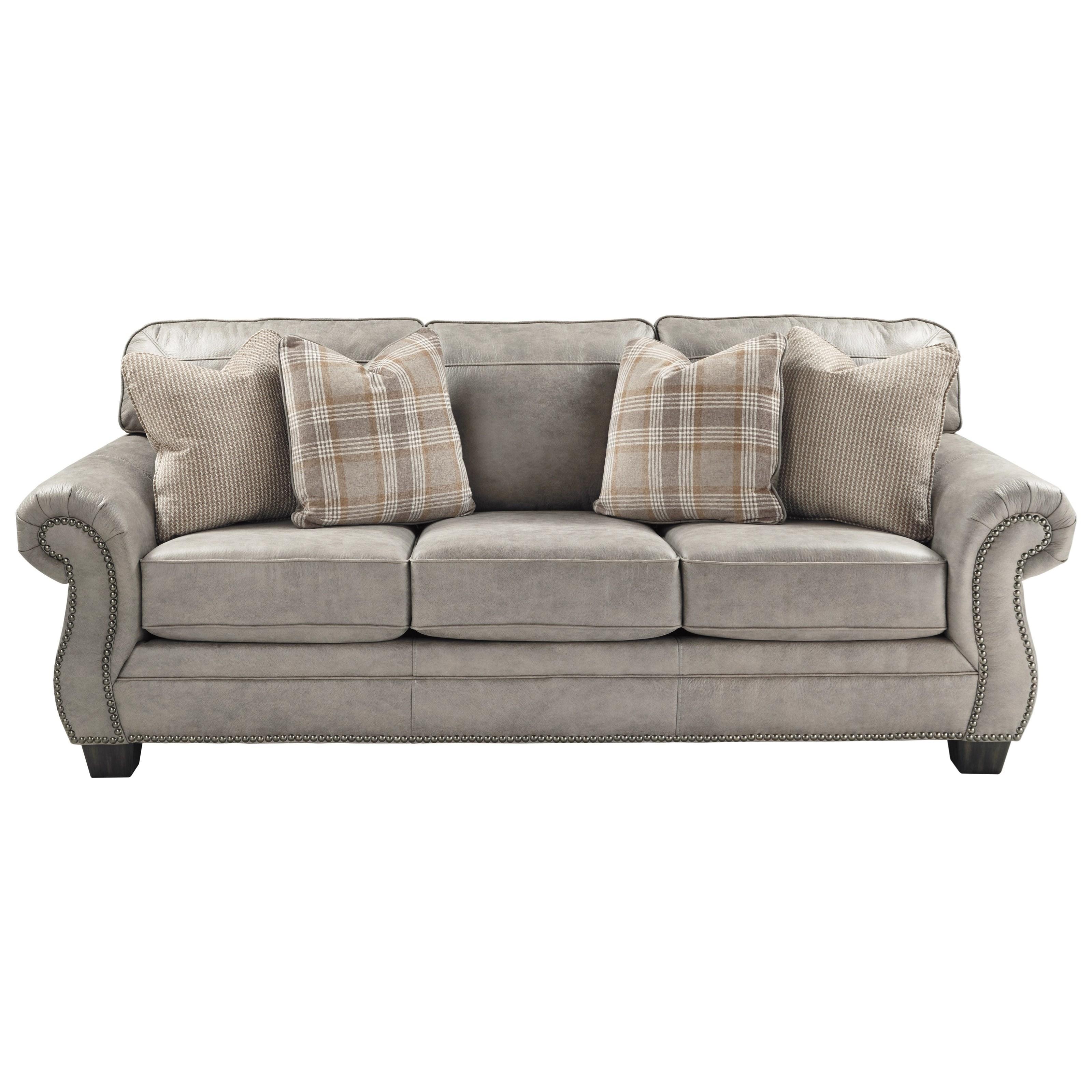 Signature Design By Ashley Olsberg Transitional Sofa With Nailhead Trim