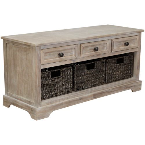 Signature Design by Ashley Oslember Storage Bench with 3 Woven Baskets and 3 Drawers