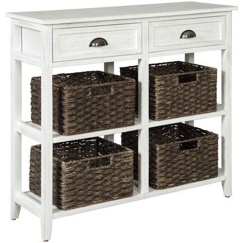 Signature Design by Ashley Oslember Console Sofa Table with 4 Woven Baskets