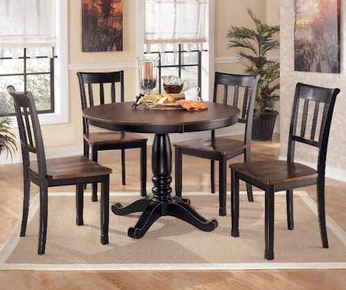 Signature Design by Ashley Owingsville 5-Piece Two-Tone Round Dining Table Set