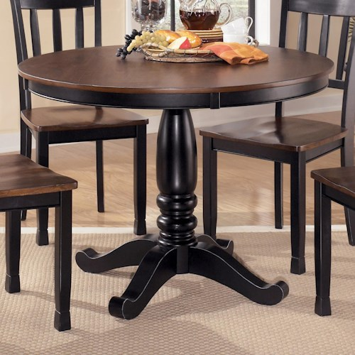 Signature Design by Ashley Owingsville Round Dining Room Table with Turned Pedestal Base