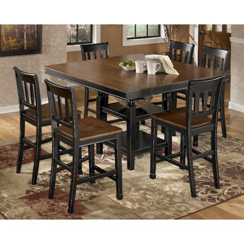 Signature Design by Ashley Owingsville 7-Piece Counter Extension Table Set