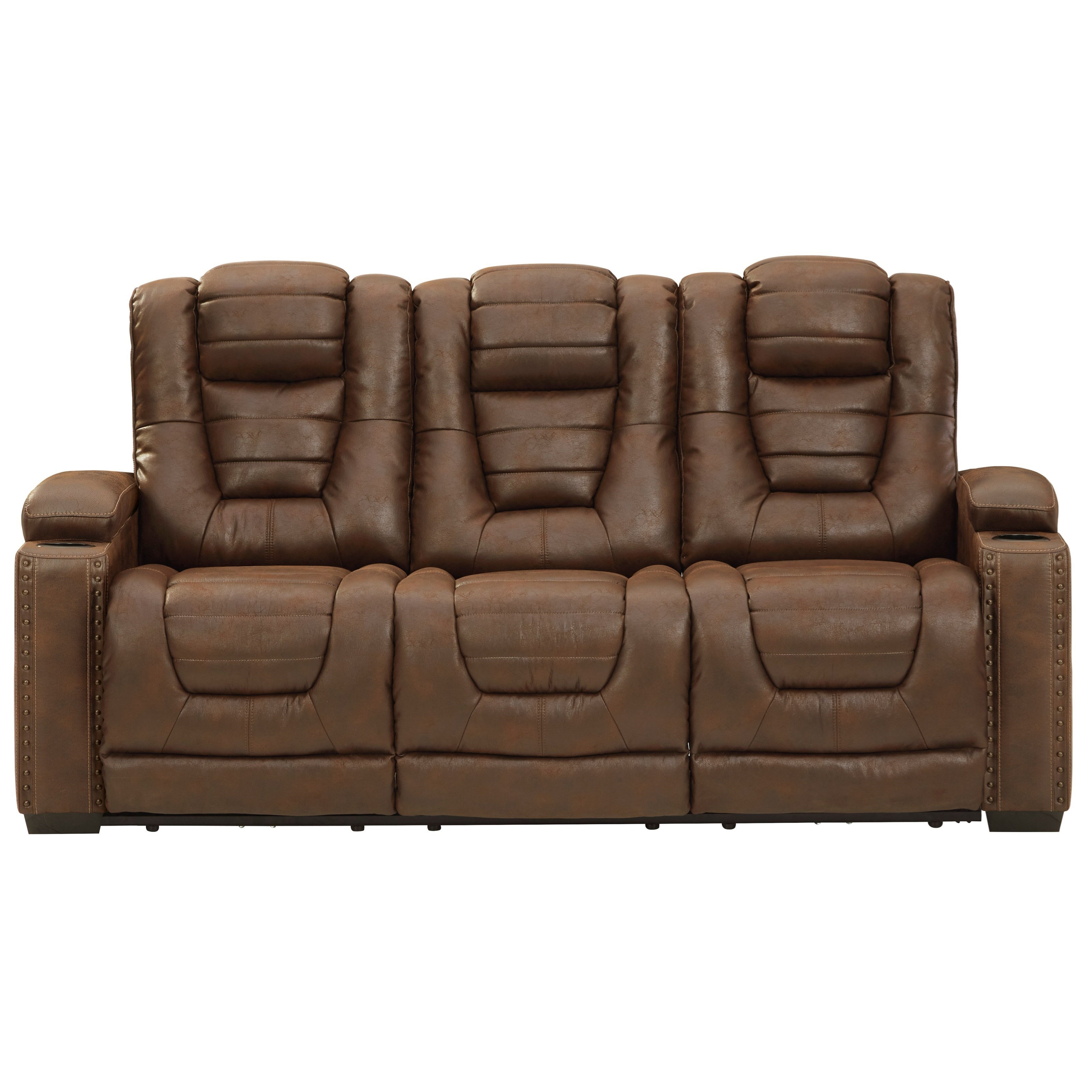 Faux Leather Power Reclining Sofa w/ Adjustable Headrests