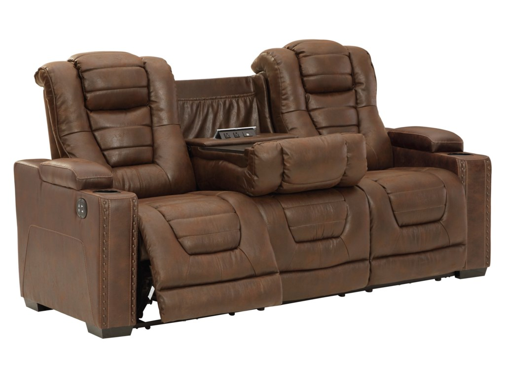 Signature Design by Ashley Owner's BoxPower Reclining Sofa w/ Adjustable Headrests