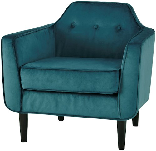 Signature Design by Ashley Oxette Mid-Century Modern Accent Chair with Shaped Tufted Back & Crushed Velvet Fabric