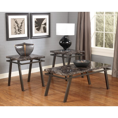 Signature Design by Ashley Paintsville Occasional Table Set with Metal Bases & Faux Marble Tops