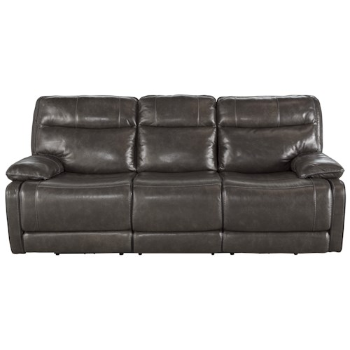 Signature Design by Ashley Palladum Leather Match Contemporary Reclining Power Sofa