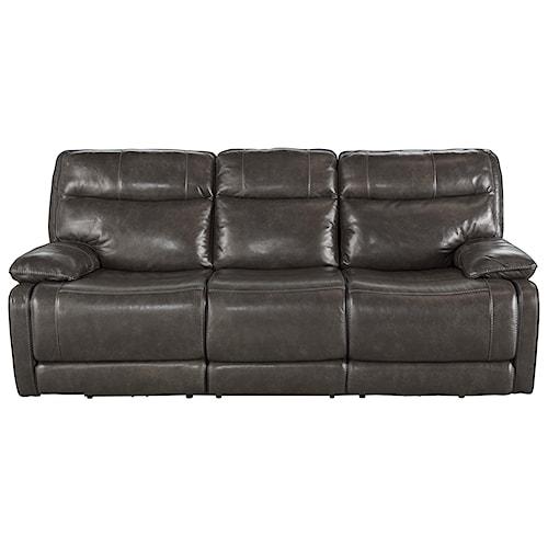 Signature Design by Ashley Palladum Leather Match Contemporary Reclining Sofa