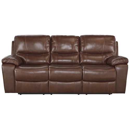 Signature Design by Ashley Panache Contemporary Leather Match Reclining Power Sofa