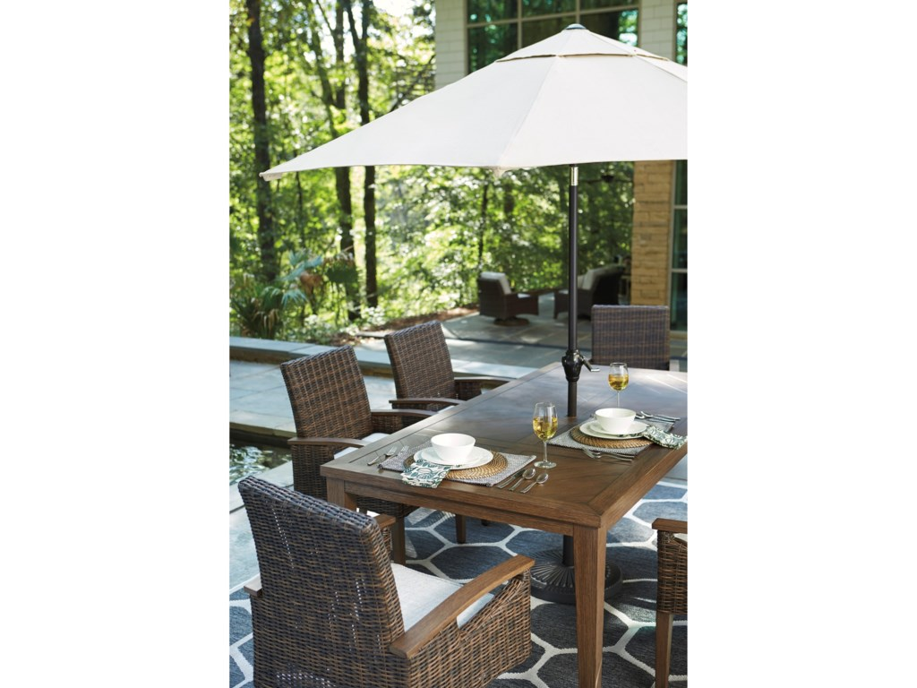 Signature Design by Ashley Paradise TrailRectangular Dining Table w/ Umbrella Option