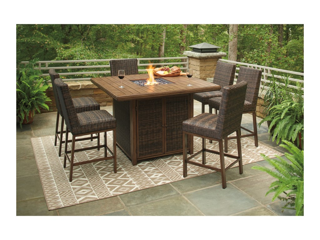 Signature Design by Ashley Paradise Trail7 Piece Outdoor Firepit Table Set