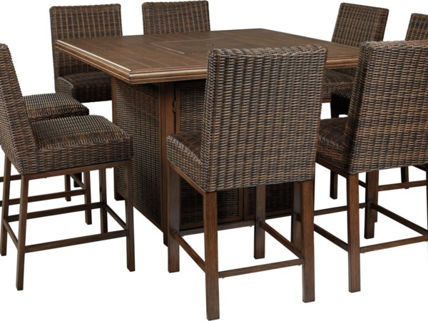 9 Piece Outdoor Firepit Table Set