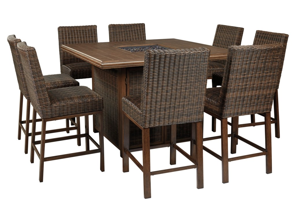 Signature Design by Ashley Paradise Trail9 Piece Outdoor Firepit Table Set