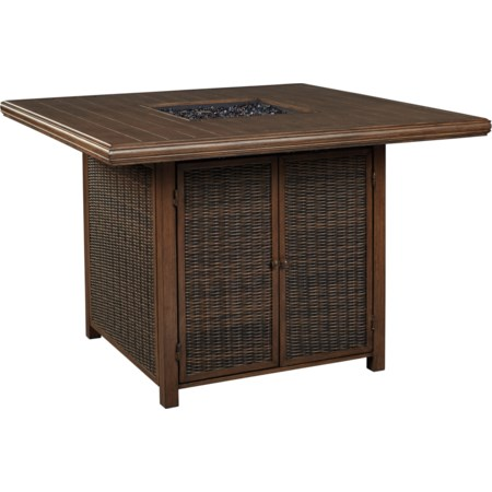 Square Bar Table with Fire Pit