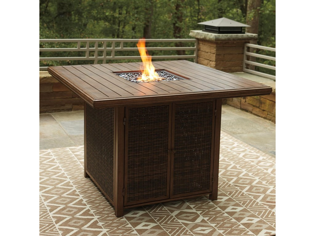 Signature Design by Ashley Paradise TrailSquare Bar Table with Fire Pit