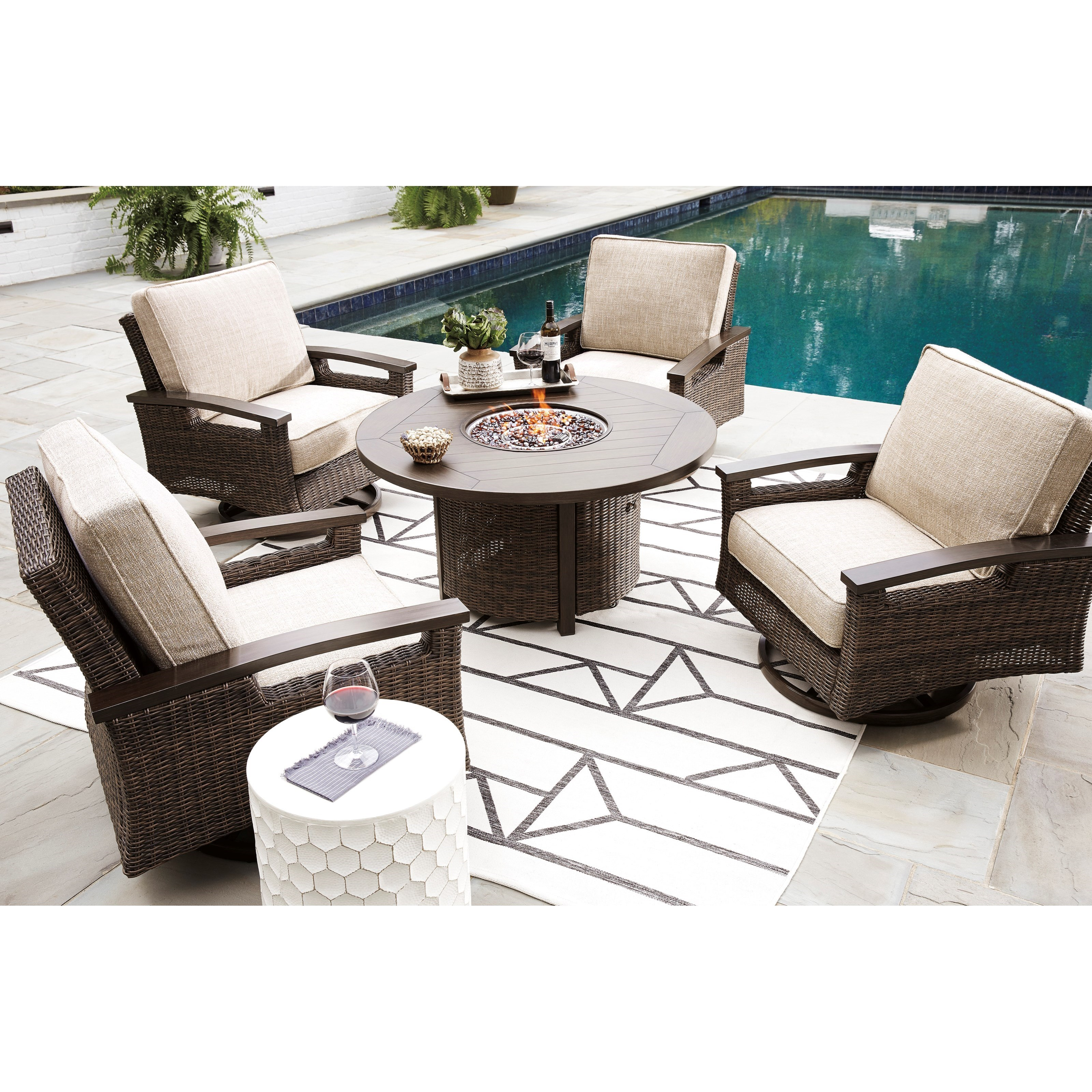 Image of: Signature Design By Ashley Paradise Trail Outdoor Fire Pit Table Set Wayside Furniture Outdoor Conversation Sets Outdoor Chat Sets