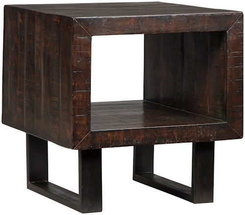 Signature Design by Ashley Parlone Rustic Solid Acacia Wood Rectangular End Table with Metal Base